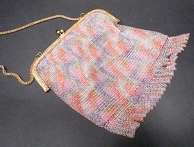 vtg 20s 30s gold frame Enamel ART Mesh Flapper Purse GERMANY boho fringe deco