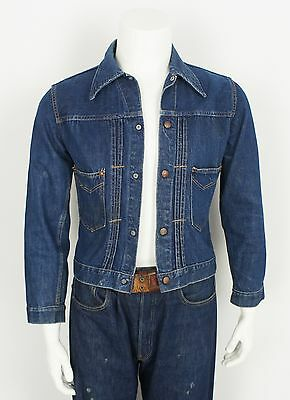 VINTAGE 1940's/50's INDIGO DENIM JEAN JACKET size XS/SMALL - PLEATED FRONT