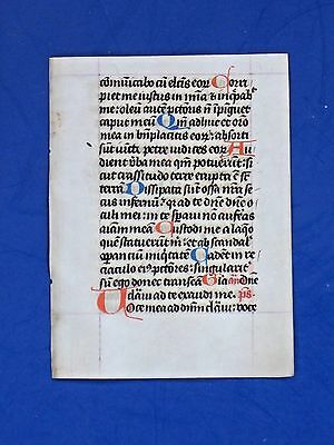 Medieval Manuscript Leaf,Book of Hours,Latin,Vellum,Initials in Red&Blue,c.1480