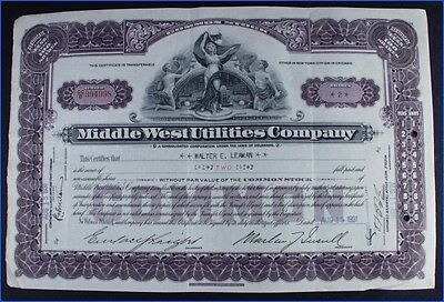 1931 Middle West Utilities Company 2 Shares Common Stock Certificate