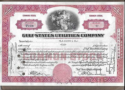 Gulf States Utilities Company Stock Certificate #2530 issued 06/23/1947