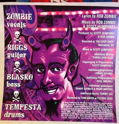 Rob Zombie Band DECAL STICKER Hellbilly Deluxe  Metal Music Album Art Creepy 666