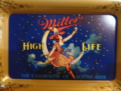"Tip Tray Tin Litho Miller High Life Girl Moon Excellent 4 1/2"" x 6 1/2"""