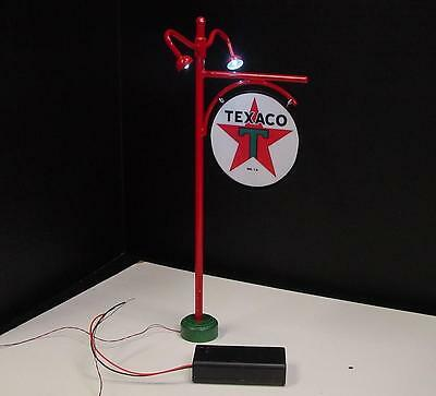 """Crafted 1-24 Scale Lighted Texaco Pole Sign 10"""" Tall Gas Station Display"""
