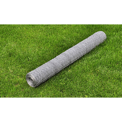 1x25M Chicken Wire Pet Mesh Fence Fencing Coop Aviary Hutches Galvanised Hexagon