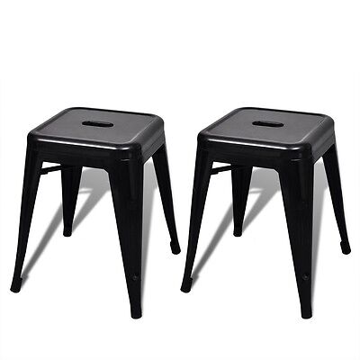 Set of 2 Kitchen Bar Stool 46cm Steel Black Stackable Dining Room Cafe Bistro
