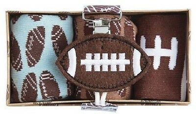 Mud Pie Football Baby Gift Set - Football Pacifier Clip and 3 pr Football Socks