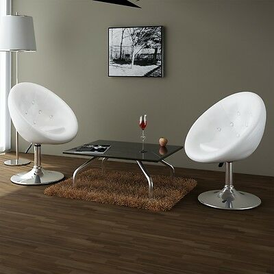 2 PC Bar Stool Luxury Chairs PU Faux Leather White Gas Lift Chrome Adjustable