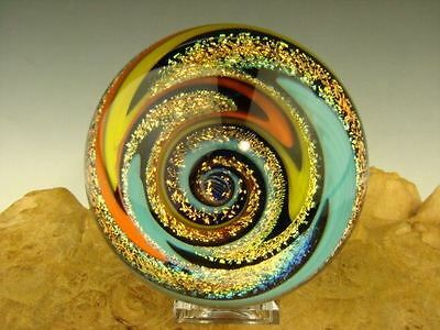 Huge Dichroic Glass Wig Wag Vortex Marble colorful Art Spiral Tim Mazet orb VGW
