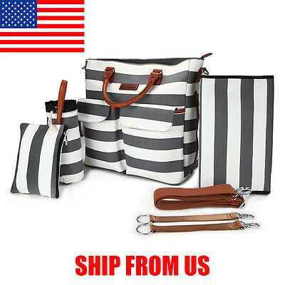 Primebabe 5 in 1 Canvas Baby Diaper Bag Stripe with Changing Pad Handbag Tote