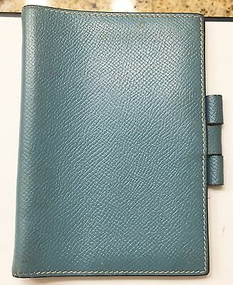Auth HERMES Note Agenda Cover Blue Leather Day Planner Cover