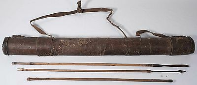 Antique Island, Native of Indigenous Leather Sheath, Spear & Arrow, OLD & Rare!
