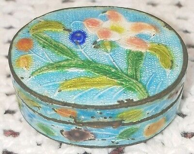 Antique Vintage Chinese Cloisonne Enamel Turquoise Floral Snuff Pill Box China