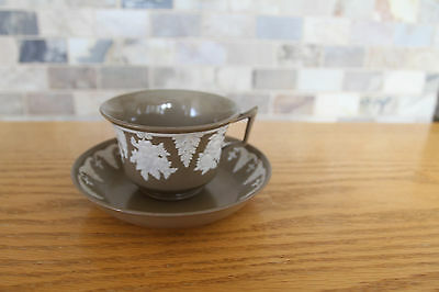 Rare Antique Wedgwood Brown Drab Ware Tea Cup and Saucer (c.1830)