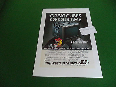 Vintage Pye Tube Cube Tv Radio Cassette   Magazine Advert Print  1