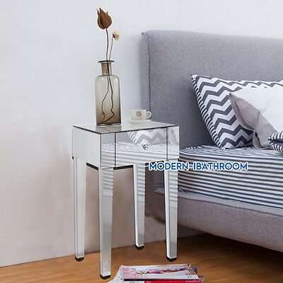 Venetian Mirrored/Glass 1 Drawer Bedroom Bedside Side Table Cabinets Furniture