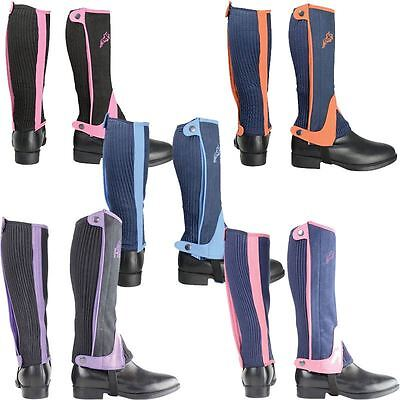 Hy Two Tone Amara Children Colour Riding Half Chaps Various Colours 10686P