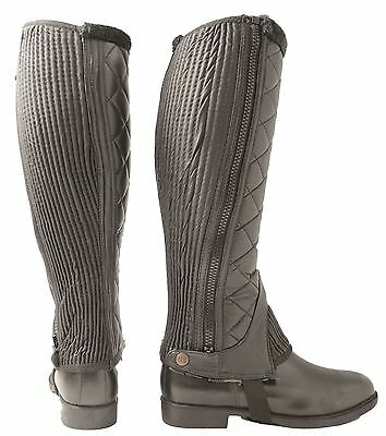 Hy Winter Quilted Adult Riding Half Chaps Black/ Brown Size XS-XL 9104P