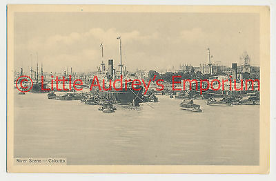 Old Postcard British India Kolkata Calcutta River Scene 1900s AL373