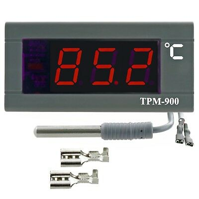 Panel Thermometer with big digits LED display -30 +110°C 230V 2m NTC sensor incl
