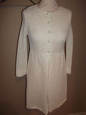 SHELANA True Vintage Day Dress Coat Jacket Races Wedding 8 10 Ivory Cream 60`s