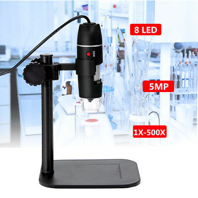 5MP 8 LED USB Digital Camera Video Microscope Magnifier Lift Stand 1X-500X 5V DC
