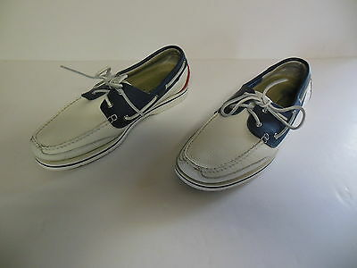 Mens Rockport Red White Blue Leather Deck Boat Shoes 11.5 M 11 1/2 Med GUC!!!