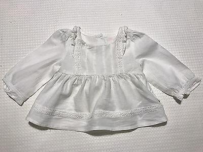 Pumpkin Patch Baby Girls Lovely Cotton And Lace White Blouse, Size 00