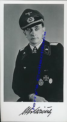 Otto Carius signed photo. Panzer Oakleaves winner. 7th Panzer. 502nd heavy tank.