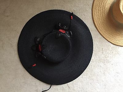 Vintage 1930's Straw Hat Black red Flowers Old Stock Stunning