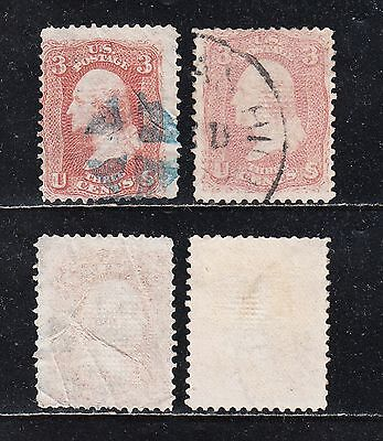 US #94 3¢ RED AND #94a 3¢ ROSE WASHINGTON 1867 2 OLD USED STAMPS