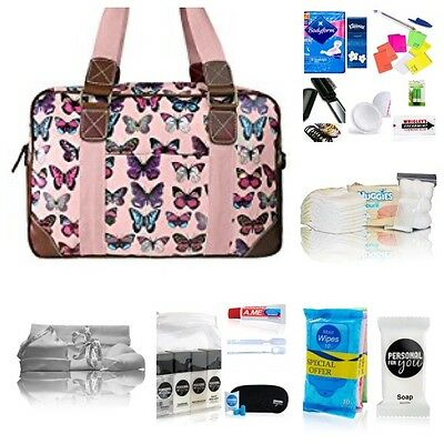 Pink butterfly oilcloth pre-packed hospital/changing bag  mum to be baby shower