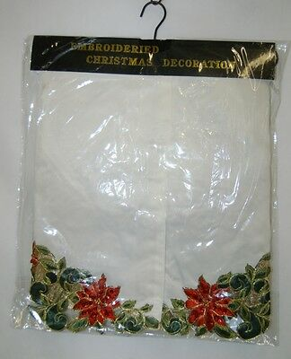 Embroidered 54 Inch Christmas Tree Skirt Ivory Red Poinsettias