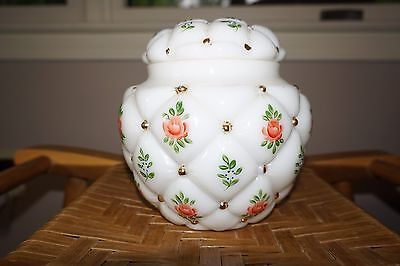 Consolidated Milk Glass Hand Painted Floral Gold Quilted Biscuit Jar With Lid