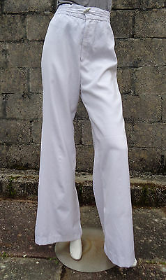 THE LIMITED Vintage 1970's Wide Leg White Trousers 10-12  Disco Sailor Flares