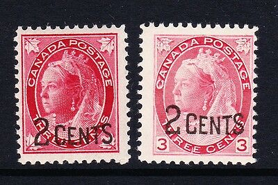 CANADA 1899 2c ON 3c SURCHARGE PAIR SG 171-172 MNH/ MINT.