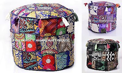"""Handmade 18"""" XL Round Ottoman~Pouf~Stool Cover Tapestry Pouffe Seat Indian Pouf"""