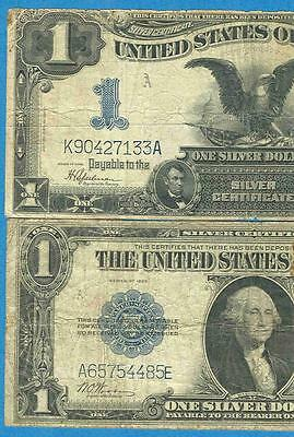 $1.00 1899 Black Eagle  + $1.00 1923 Silver Certificate Imperfect Pair