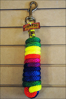 RAINBOW SHOW WESTERN HORSE BRAIDED NYLON SOFT ROPE LEAD 10ft BRASS PLATED SNAP