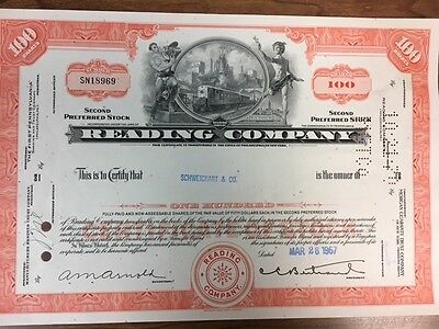 Stock Certificate:  Reading Company 1967