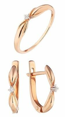 Ring Earrings Fine Jewelry set Russian Rose Gold 14K 585 natural diamonds 3.3g.