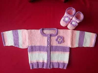 New Hand Knitted Pink/white/lilac cardigan and boots decorated with flower 12m