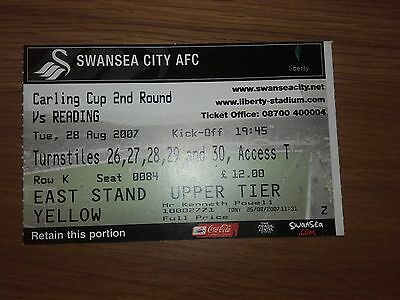 Swansea City V Reading Used Ticket 28Th August 2007 Carling Cup Round Two