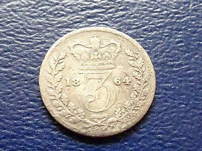 Queen Victoria Silver Threepence 1864 3D Great Britain Uk