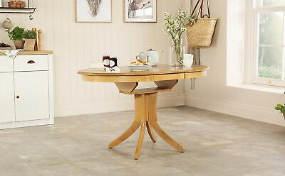 HUDSON Round Extending Oak Dining Room Table Furniture