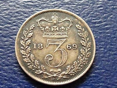 Queen Victoria Silver Maundy Threepence 1869 3D Rare & Nice Great Britain Uk