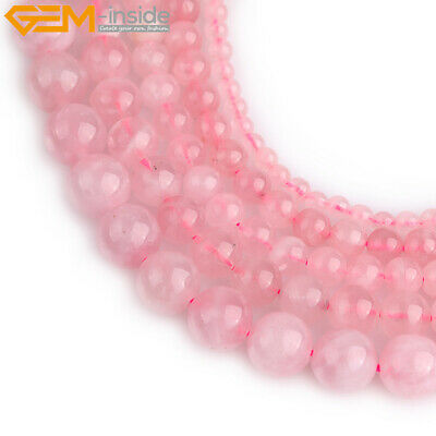 Round Madagascar Natural Rose Quartz Crystal Loose Beads For Jewelry Making 15""