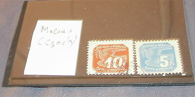 2 Old Czechoslovakia [Moravia] Fine Used Stamps On Stock Card.