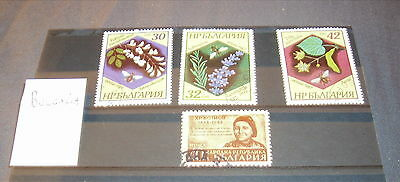 4 Bulgaria Fine Used Stamps On Stock Card.