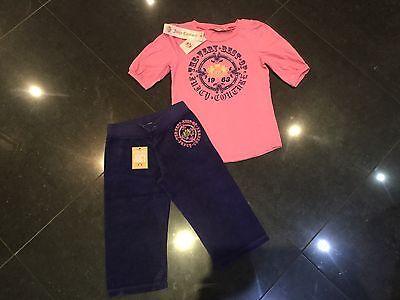 NWT Juicy Couture New & Gen Girls Age 8 Blue Cotton Pants & Pink Cotton T-Shirt